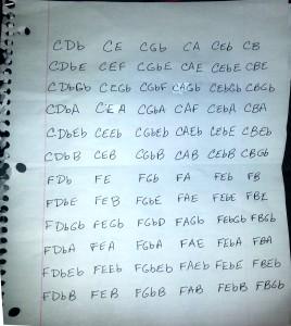 Handwritten piano chord sheet